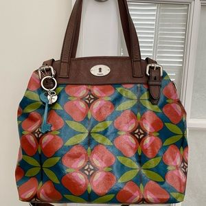 FOSSIL Key Per floral canvas bag